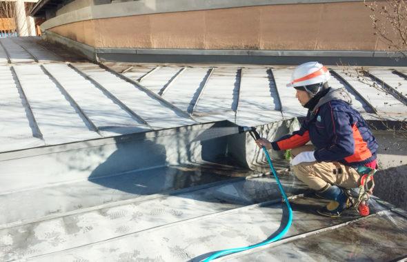ミュージアム屋根からの雨漏り散水調査