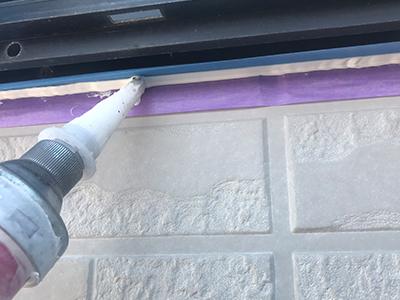 千曲市コーキング・シーリング防水工事の打設状況